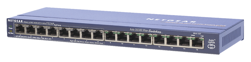 FS116P 16 Port 10/100 Switch (8 POE Ports)